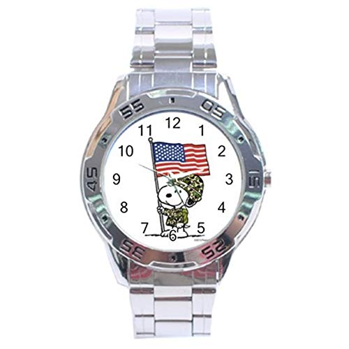 (Snoopy The Peanuts Memorial Day Military Stainless Steel Analog Men's Watch For Men Women Students)