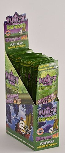 50 Wraps Display Natural Juicy Jays Hemp Wraps Grapes Gone Wild Flavor (25 Packs of 2) Made of Pure Hemp Non Tobacco + Limited Beamer Smoke Sticker Producers of Juicy -