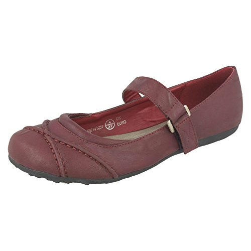 Spot On Ladies Flat Ballerina Shoes Burgundy (Red) 2WkC4