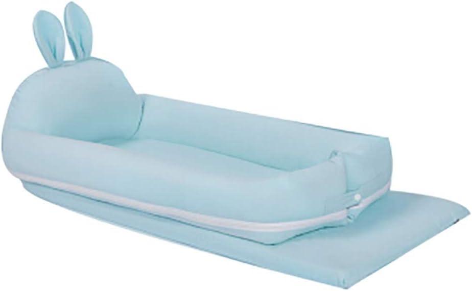 J-ベビーベッド ポータブル ベビーベッド 折り畳み式ベビーベッド 旅行ポータブル多機能折りたたみバイオニック抗圧力ベッド 折りたたみベッド (Color : Blue)