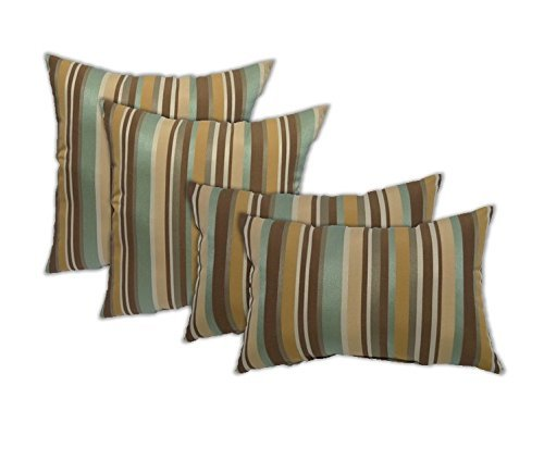 Set of 4 Indoor/Outdoor Pillows - Square Throw Pillows & 2 Rectangle / Lumbar Throw Pillows - Mineral Blue, Tan, Brown and Ivory Stripe -- Choose Size (17'' & 11'' x 19'') by Resort Spa Home