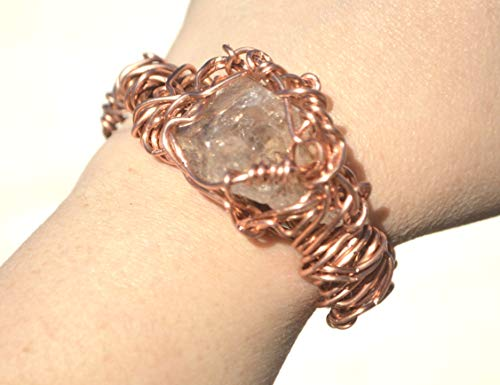 Herkimer Diamond Quartz Crystal Rustic Orgone Energy Healing EMF Protector Copper Cuff Wire Wrapped Bracelet Scalar Arthritis ()