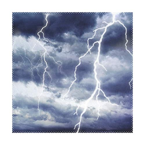 """LORVIES Storm Lightning Placemats 1 Piece, Heat-Resistant Placemats Stain Resistant Washable Polyester Square Table Place Mat for Kitchen Decorative Dining Table, 12""""x12"""""""
