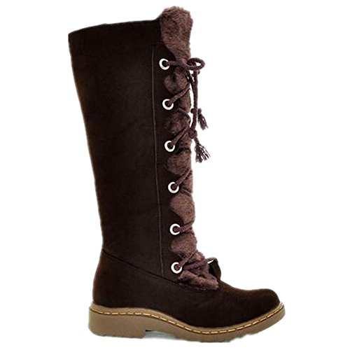 HAPPYLIVE SHOPPING Womens Winter Warm Quilted Knee High Mid Calf Waterproof Thick Faux Fur Lined Lace Up Low Heels Winter Rain Snow Boots Brown