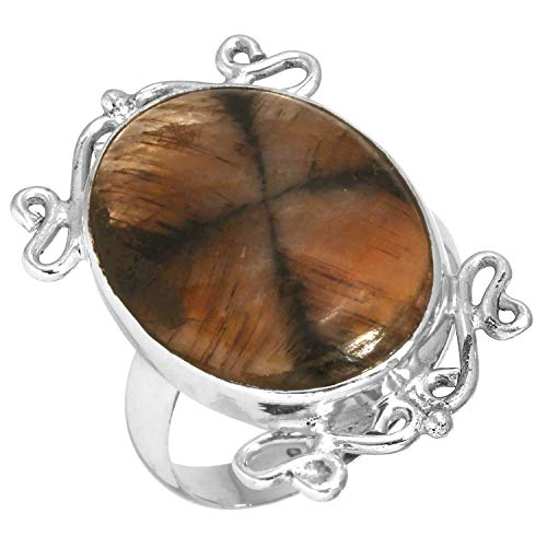 Solid 925 Sterling Silver Handmade Jewelry Natural Chiastolite Cross Stone Gemstone Ring Size 7.5