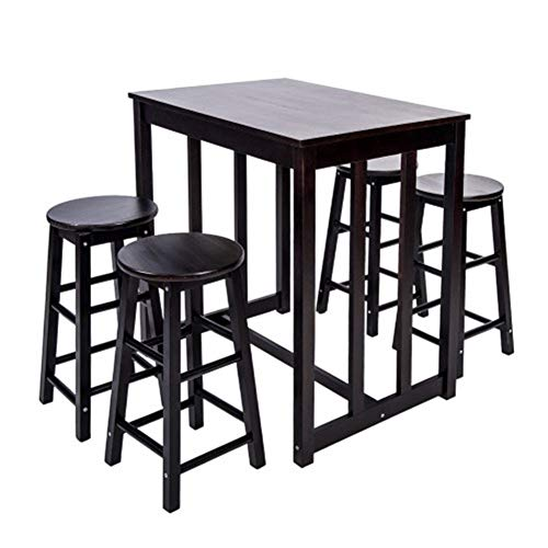 (8HAOWENJU 5-Piece Dining Table Set High/Pub Table Set with 4 Bar Stools (Espresso) (Color : Espresso))