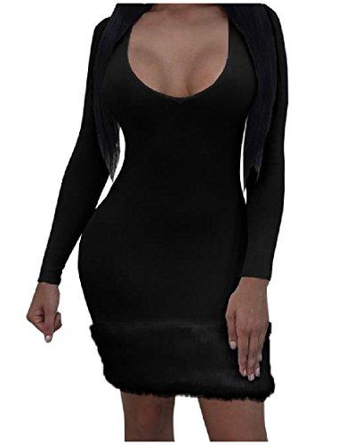 Lunga Midi Pullover Coolred Collo maglia Solido Equipaggio Accogliente Nero Vestito A Manica TzUtwz0q