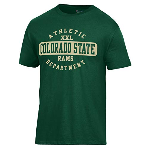Champion NCAA Men's Ringspun 100% Cotton Short Sleeve University T-Shirt, Colorado State Rams, (Colorado State University Gear)