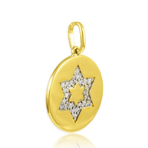 David Diamond Disc Pendant (Polished 14k Gold Star of David Medallion Diamond Disc Charm Pendant)