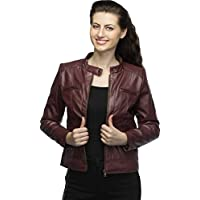 Life Trading Fashionable Maroon Pu Leather Jacket for Womens and Girls