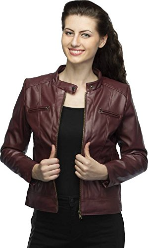4085565ce3a Life Trading Fashionable Maroon Pu aleather Jacket for Womens and Girls  (Medium)