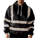 Leewa High Visibility Men's Sweatshirt Hodded from Reflective Work with Hood Sweat-Shirt, Men's Jacket
