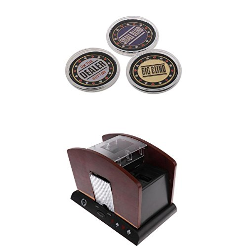 MagiDeal Wood Automatic Poker Card Shuffler Casino Playing Shuffling 4 Deck+Dealer #1 by MagiDeal