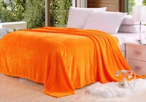 "Color Orange Micro plush Flannel Fleece Throw Blanket / King Size (84"" X 94"")"