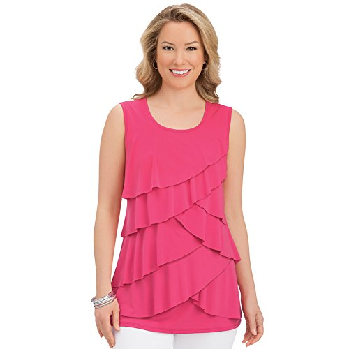 Ruffle Front Top - Collections Women's Tiered Ruffle Front Sleeveless Wide Strap Scoop Neck Tank Top, Coral, X-Large