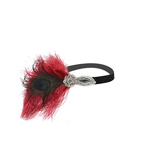 (Zainafacai Hairband, Flapper Feather Headband 1920s Accessories Crystal Beaded Wedding Headpiece)