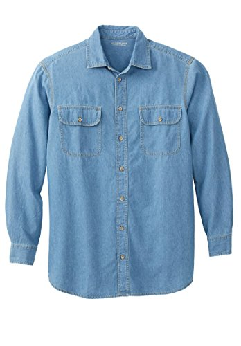 Blue Boulder (Boulder Creek Men's Big & Tall Long-Sleeve Denim Shirt, Bleach Denim Big-4Xl)
