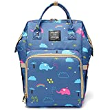 Shen Bei Diaper bag Mummy Bag Baby Travel Backpack Bag Large Waterproof Bag Purle Multi Color With Cartoon Pattern