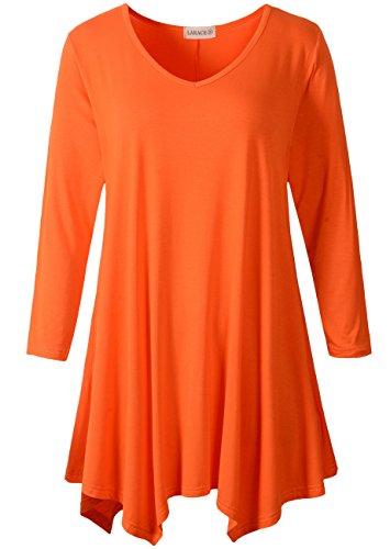 LARACE Womens V-Neck Plain Swing Tunic Top Casual T Shirt(M, Orange)