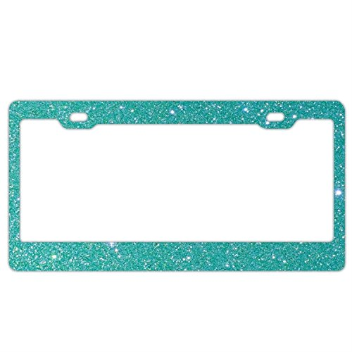 Teal Glitter Bling License Plate Frame Car Tag Holder Stainless Steel Metal License Plate Frame Humor