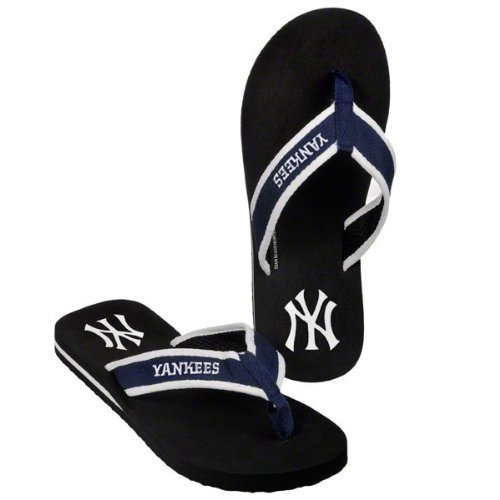 New York Yankees official MLB Unisex Contoured Flip Flop Beach Shoes Sandals slippers size Small forever collectibles by Forever Collectibles