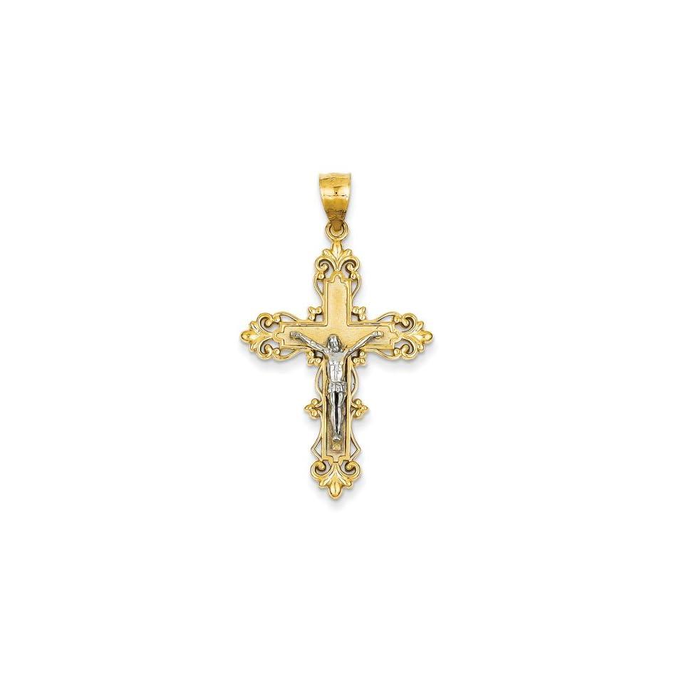 Crucifix Pendant in 14kt White & Yellow Gold   Inviting   Unisex Adult GEMaffair Jewelry