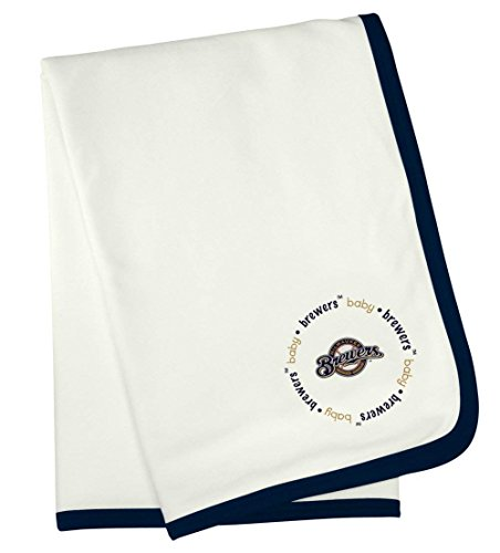 Official MLB Fan Shop Authentic Ultra-Soft New Born Baby Receiving Major League Baseball Team Blanket (Milwaukee Brewers) (White Brewers Baseball Milwaukee)