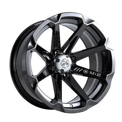 4/156 Motosport Alloys M12 Diesel Wheel 14x7 4.0 + 3.0 Black for Polaris GENERAL 4 1000 EPS 2017-2018