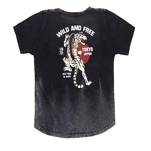 SKULL & WINGS Men's Graphic T-Shirt with Acid Wash and Curved Hem (Black, Medium)