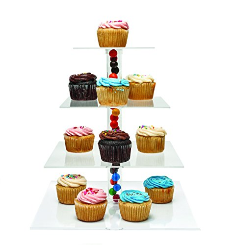 Culinaire 4-Tier Stacked Cupcake and Dessert Tower Party Cupcake and Dessert Tower - Square