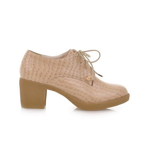 Solid B Pumps 5 Heel whith WeenFashion Bandage US Low Square Closed PU Apricot M Toe Round Women's 5 xCSHqF8