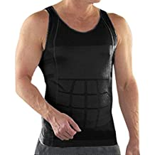 TopTie Mens Slimming Body Shaper Vest Shirt Abs Abdomen Slim, Compression Muscle Tank