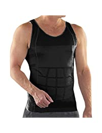 TopTie Men Slimming Body Shaper Tummy Waist Vest Shirt Abdomen Slim, Muscle Tank