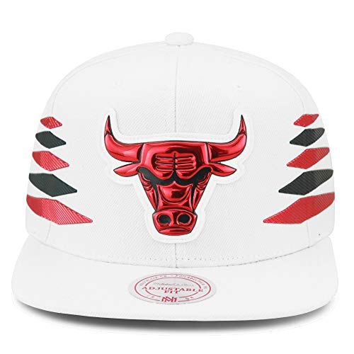 Mitchell & Ness Chicago Bulls Snapback Hat Cap White/Red & Black Diamond Side/Metallic Foil (Patent Leather) (Mitchell Ness Diamond)