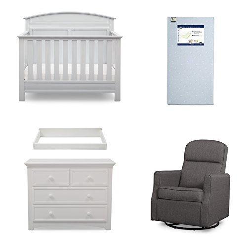 Serta Ashland 5-Piece Nursery Furniture Set (Serta Convertible Crib, 4-Drawer Dresser, Changing Top, Serta Crib Mattress, Glider), Bianca White