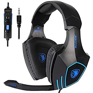 SADES SA819 Gaming Headset for PC, MAC, PS4, Xbox ONE, 3.5mm Surround Stereo Wired Gaming Headset, Over Ear Headphones with Mic Revolution Volume Control, Noise Canceling(Black)