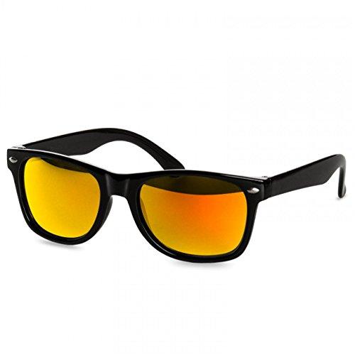 CASPAR Coole Kinder Wayfarer Sonnenbrille mit buntverspiegelten Gläsern - 100% UV400 Schutz - viele Varianten - SG034, Farbe:schwarz / gold verspiegelt