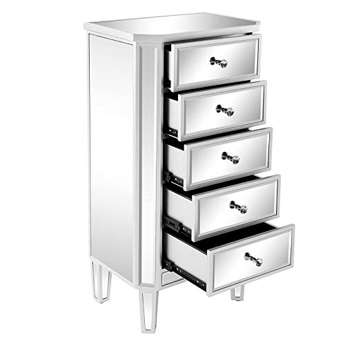 VINGLI Mirrored 5-Drawer Chest Silver Storage Dresser