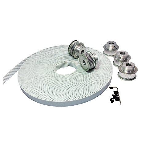 (BEMONOC 10Meters White PU Arc Tooth Open Ended Timing Belt Pitch 3mm + HTD 5pcs 3M Timing Belt Pulley Wheel 32 Teeth Bore 6mm 8mm 10mm)