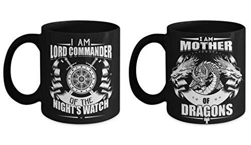 (GOT King and Queen Mug Set - Lord Commander Mother of Dragons Mugs - Game of Thrones Gift Couple Daenerys Stormborn Jon Snow)