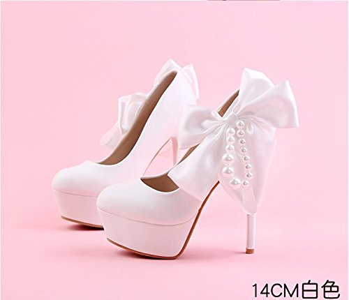 Fine With Red red White Bow High Bride Wedding Heels heel Pearl Shoes Round Waterproof Super Taiwan Black Sandals Shoe Women Shoes VIVIOO Prom 12cm SWnwqvYXw