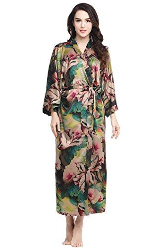 Floral Satin Nightgown - BABEYOND Womens Kimono Robe Long Floral Wedding Robes for Bridesmaids Satin Silk Kimono Nightgown Sleepwear 52