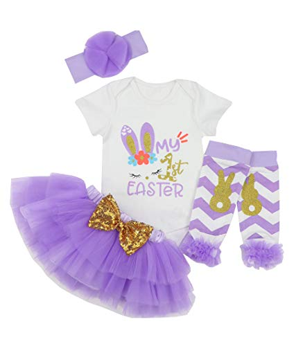 My 1st Easter Outfit Baby Girl Bunny Letters Romper Tutu Dress with Headband Bodysuit Set 6-9 Months Purple