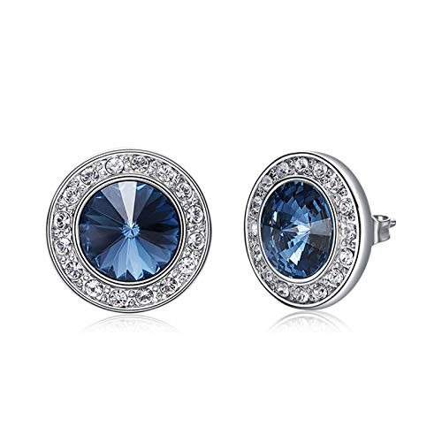 (SNOWH Womens Sterling Silver Earrings Hypoallergenic with Swarovski Crystals Round Cut Stud Earrings CZ Rhinestone Earrings Jewelry Gifts for Christmas Wedding, Prom, Daily Wear Sapphire)