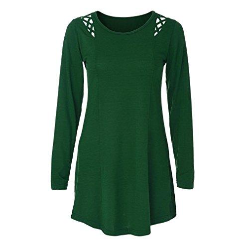Femme Vert T Tunique Vert Crisscross Womens VJGOAL Longues Vider Blouse Shirt Tops Blouse T Manches Solide Shirt Shirt Tee Mode 4Uxpq
