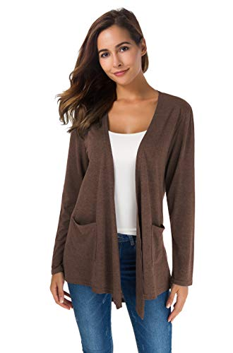 Women's Loose Casual Long Sleeved Open Front Breathable Cardigans with Pocket (Coffee, XL)