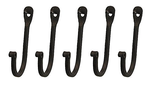 Early American Single Prong Wrought Iron Hooks, Set of 5 - Rustic Curved Metal Fasteners - Decorative Colonial Wall Décor