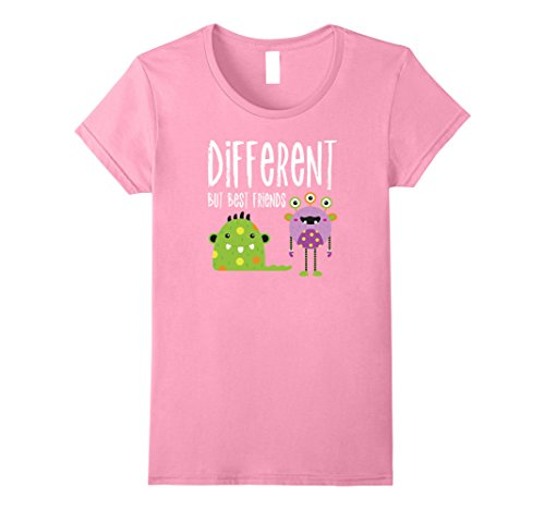 Womens Different But Best Friends Cute Monster Halloween T-shirt Large Pink