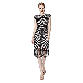 Metme Women's 1920s Flapper Dress Classic Long Beaded Cocktail Party Dress Fringe Embellished for Gatsby Party