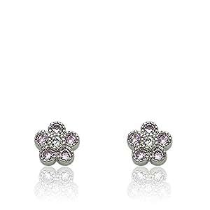 Little Miss Twin Stars Little Miss Flower Girl Rhodium-Plated PinkCZ Small Flower Stud Earring/